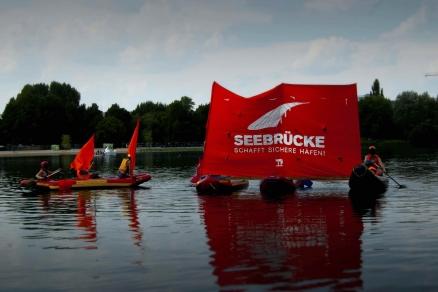 Boote der Aktion Seebrücke auf dem Wöhrder See